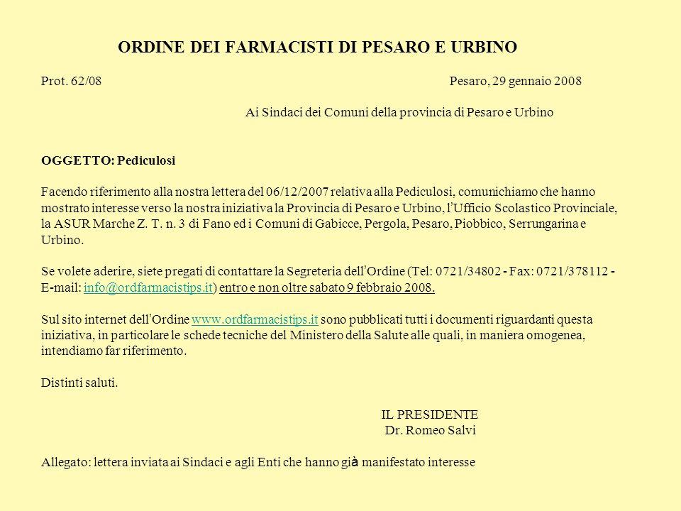 ORDINE DEI FARMACISTI DI PESARO E URBINO Prot. 62/08