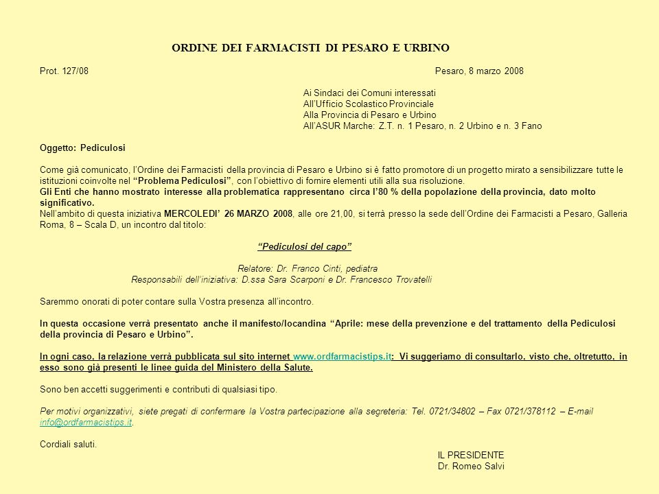 ORDINE DEI FARMACISTI DI PESARO E URBINO. Prot. 127/08