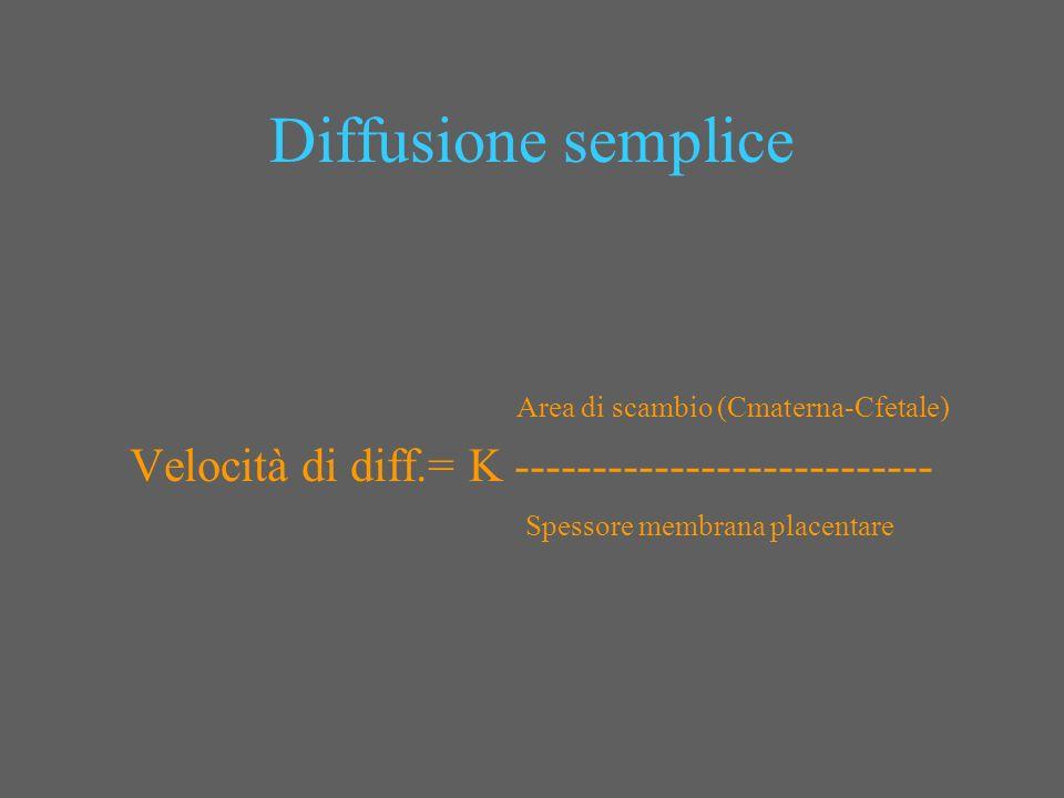 Diffusione semplice Velocità di diff.= K ---------------------------