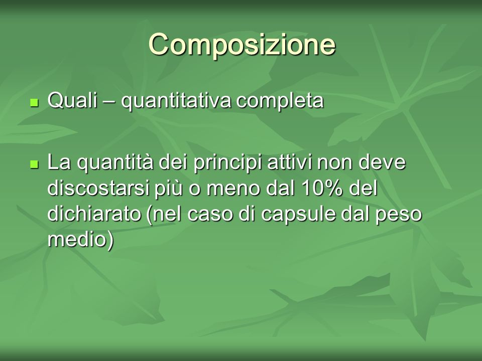 Composizione Quali – quantitativa completa