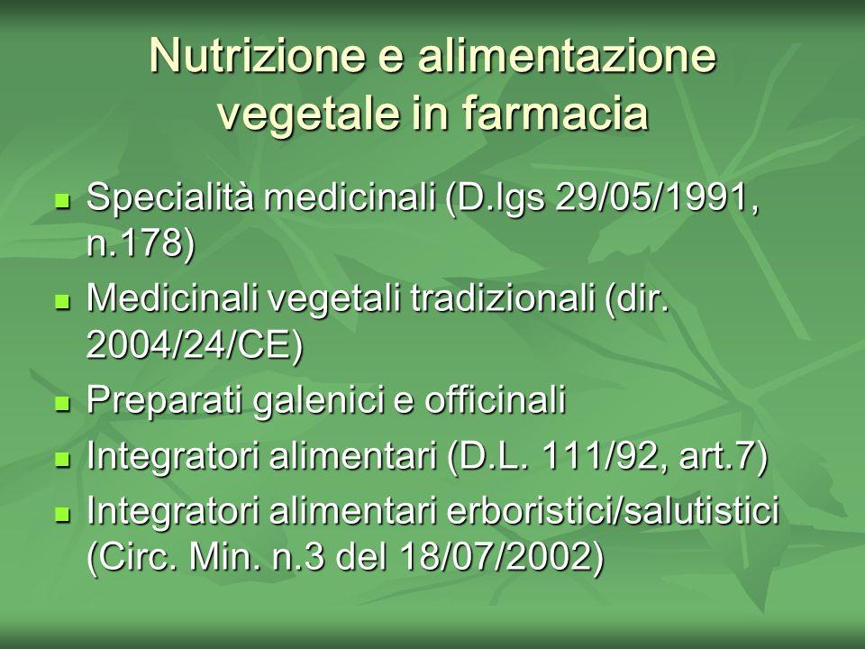 Nutrizione e alimentazione vegetale in farmacia