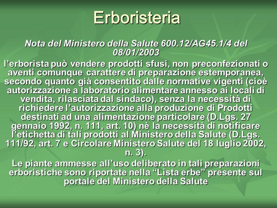 Nota del Ministero della Salute 600.12/AG45.1/4 del 08/01/2003