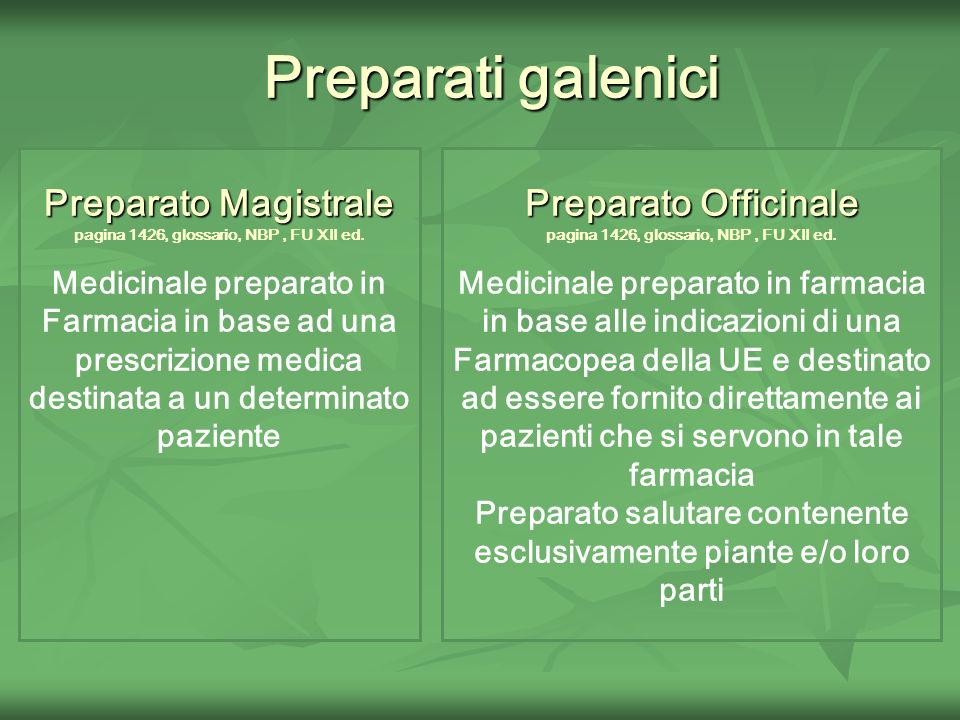 Preparati galenici Preparato Magistrale Preparato Officinale