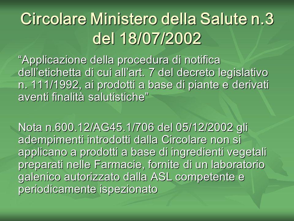 Circolare Ministero della Salute n.3 del 18/07/2002