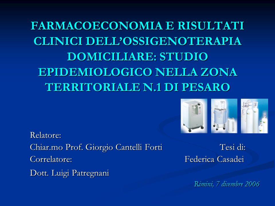 FARMACOECONOMIA E RISULTATI CLINICI DELL'OSSIGENOTERAPIA DOMICILIARE: STUDIO EPIDEMIOLOGICO NELLA ZONA TERRITORIALE N.1 DI PESARO