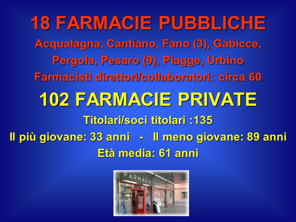 18 FARMACIE PUBBLICHE 102 FARMACIE PRIVATE