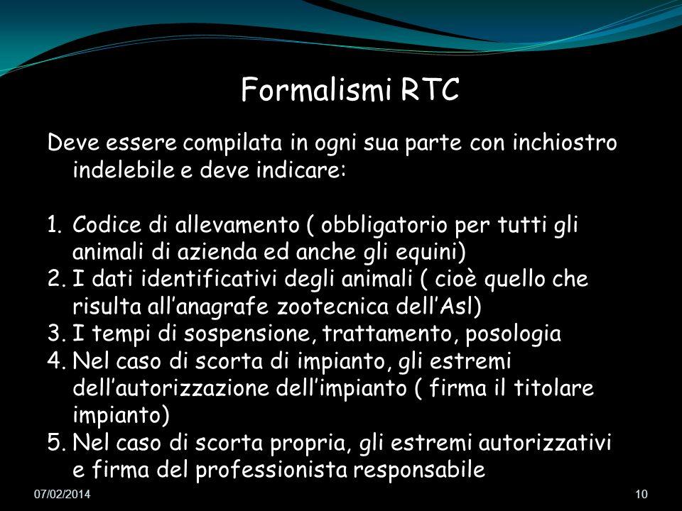 Formalismi RTC Deve essere compilata in ogni sua parte con inchiostro indelebile e deve indicare: