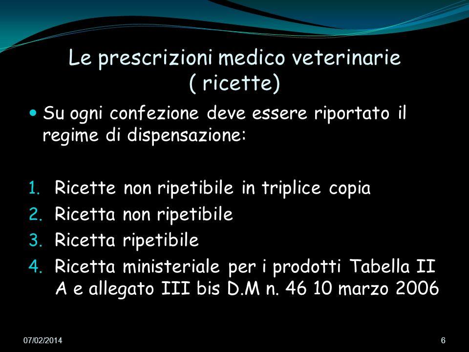 Le prescrizioni medico veterinarie ( ricette)