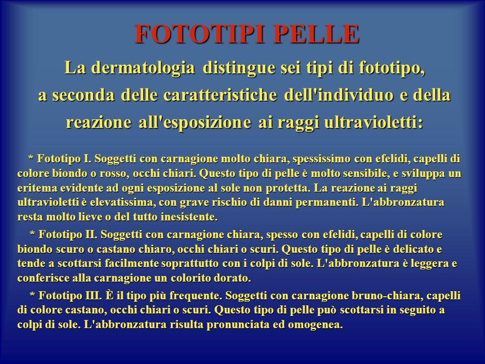 FOTOTIPI PELLE La dermatologia distingue sei tipi di fototipo,