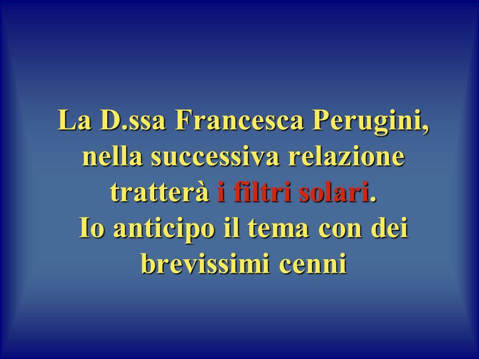La D.ssa Francesca Perugini, nella successiva relazione tratterà i filtri solari.