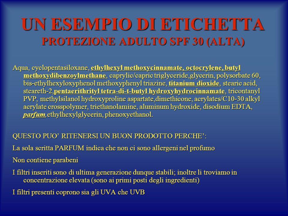 UN ESEMPIO DI ETICHETTA PROTEZIONE ADULTO SPF 30 (ALTA)