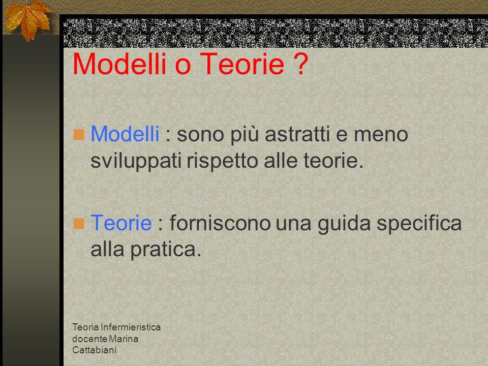 Modelli o Teorie Modelli : sono più astratti e meno sviluppati rispetto alle teorie. Teorie : forniscono una guida specifica alla pratica.