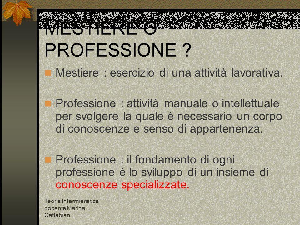 MESTIERE O PROFESSIONE