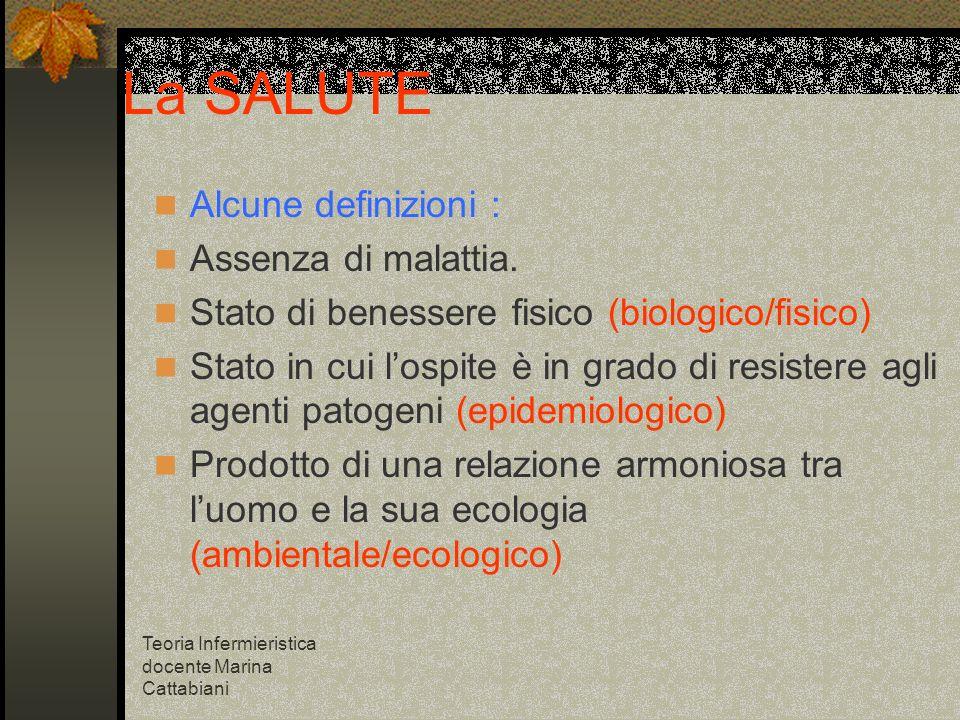 La SALUTE Alcune definizioni : Assenza di malattia.