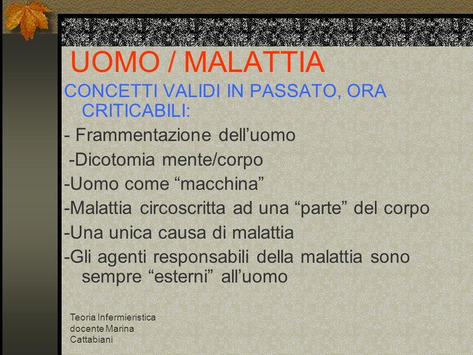 UOMO / MALATTIA CONCETTI VALIDI IN PASSATO, ORA CRITICABILI: