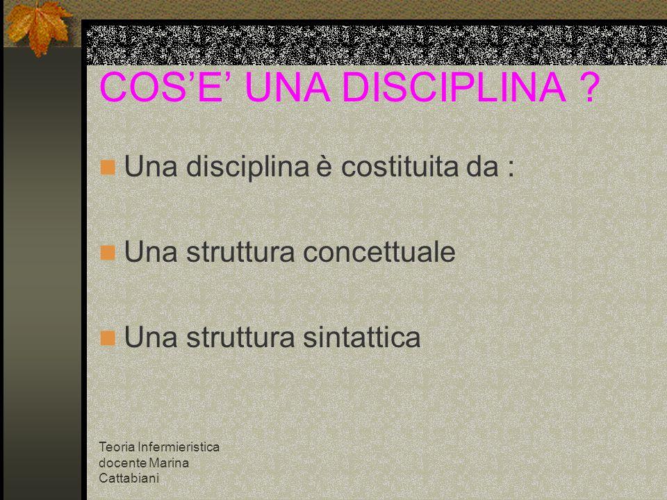 COS'E' UNA DISCIPLINA Una disciplina è costituita da :