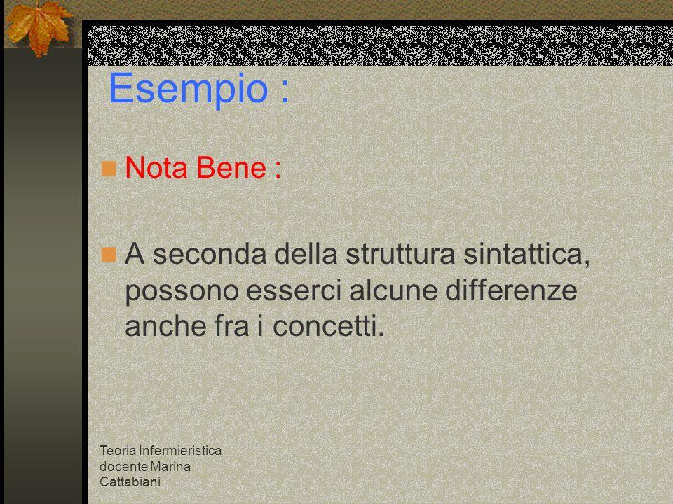 Esempio : Nota Bene : A seconda della struttura sintattica, possono esserci alcune differenze anche fra i concetti.