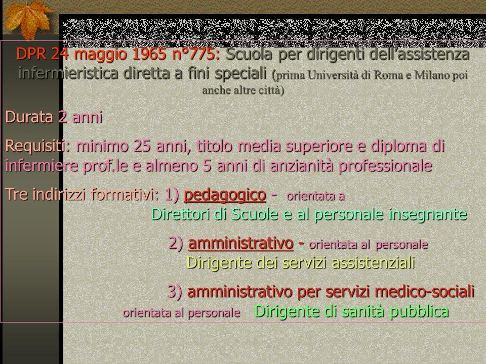 DPR 24 maggio 1965 n°775: Scuola per dirigenti dell'assistenza infermieristica diretta a fini speciali (prima Università di Roma e Milano poi anche altre città)