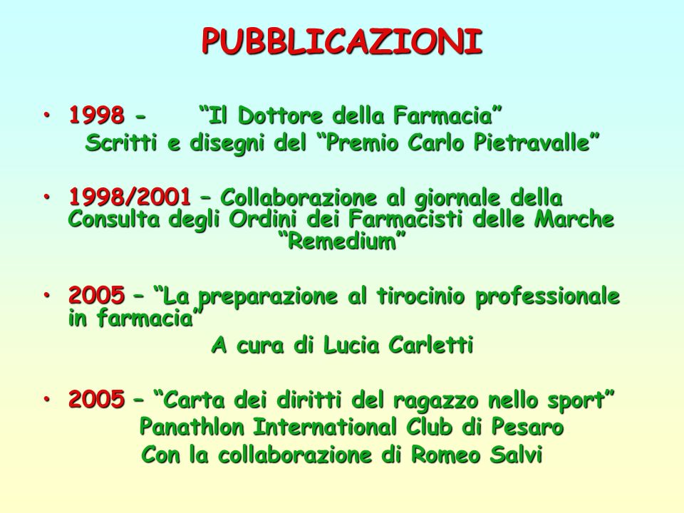 PUBBLICAZIONI 1998 - Il Dottore della Farmacia