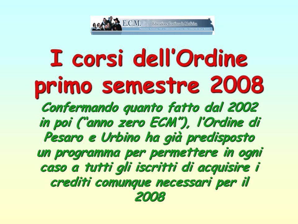 I corsi dell'Ordine primo semestre 2008