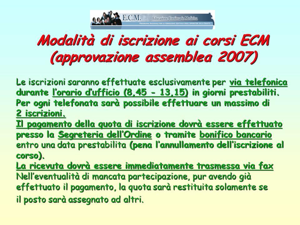 Modalità di iscrizione ai corsi ECM (approvazione assemblea 2007)