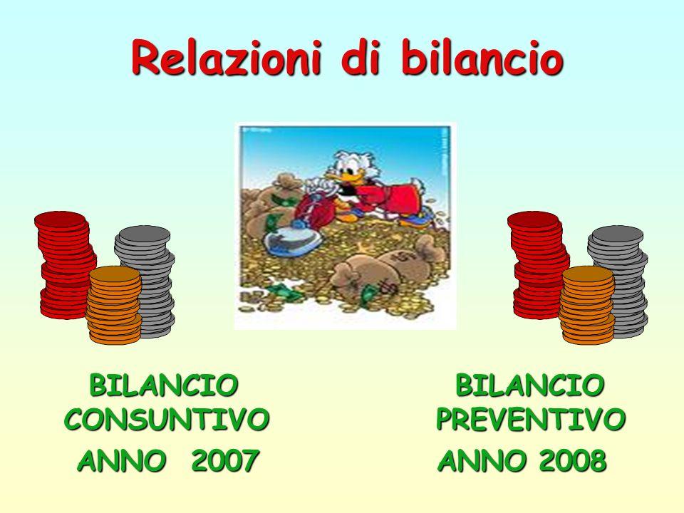 BILANCIO BILANCIO CONSUNTIVO PREVENTIVO ANNO 2007 ANNO 2008