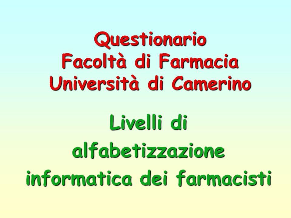 Questionario Facoltà di Farmacia Università di Camerino