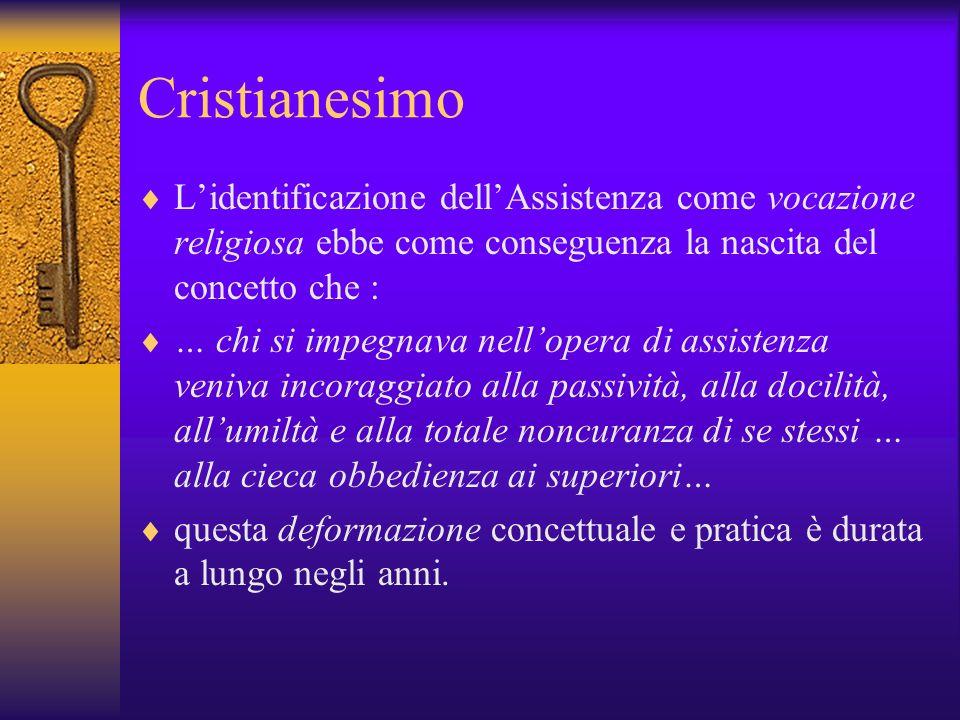 Cristianesimo L'identificazione dell'Assistenza come vocazione religiosa ebbe come conseguenza la nascita del concetto che :