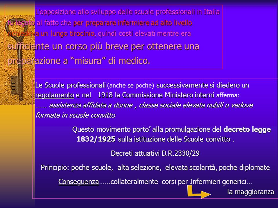 L'opposizione allo sviluppo delle scuole professionali in Italia fu legato al fatto che per preparare infermiere ad alto livello richiedeva un lungo tirocinio, quindi costi elevati mentre era sufficiente un corso più breve per ottenere una preparazione a misura di medico.