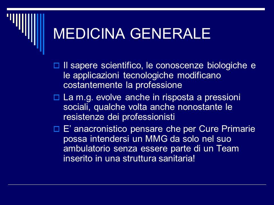 MEDICINA GENERALE Il sapere scientifico, le conoscenze biologiche e le applicazioni tecnologiche modificano costantemente la professione.