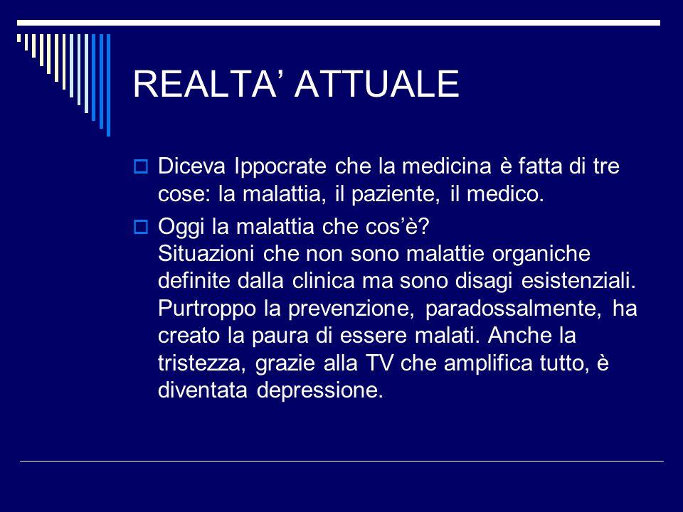 REALTA' ATTUALEDiceva Ippocrate che la medicina è fatta di tre cose: la malattia, il paziente, il medico.
