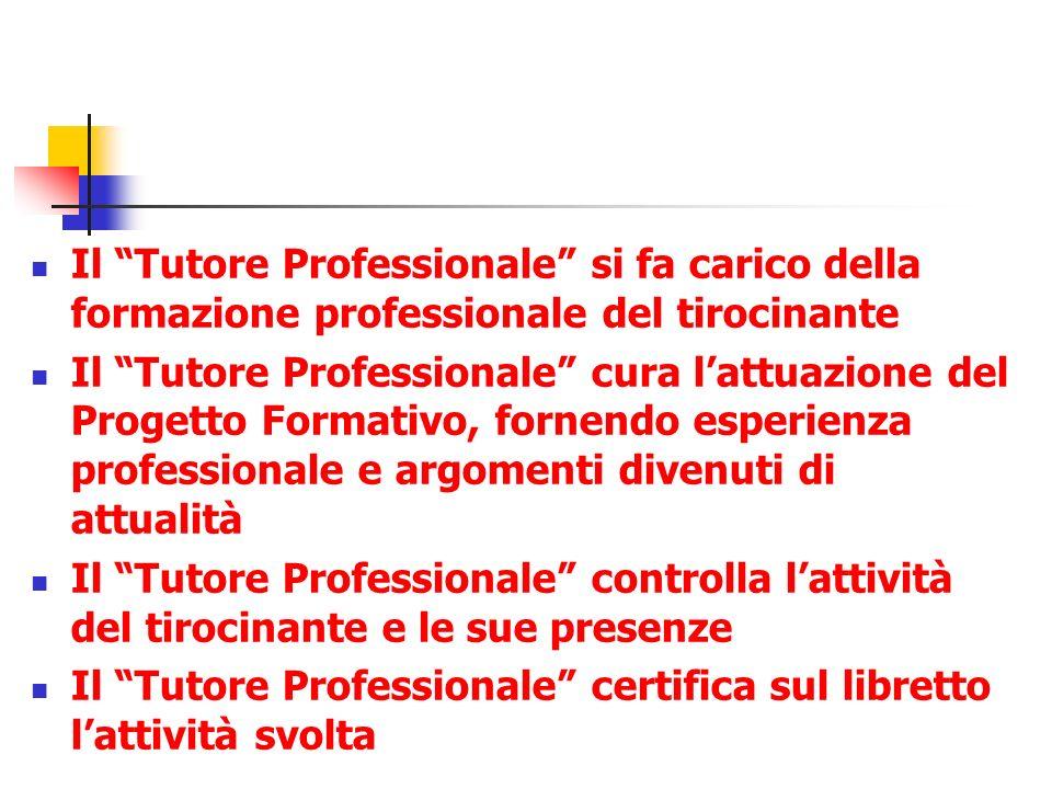 Il Tutore Professionale si fa carico della formazione professionale del tirocinante