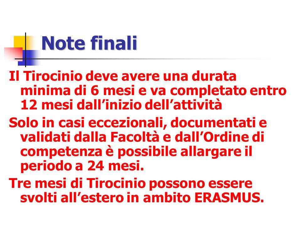 Note finali Il Tirocinio deve avere una durata minima di 6 mesi e va completato entro 12 mesi dall'inizio dell'attività.