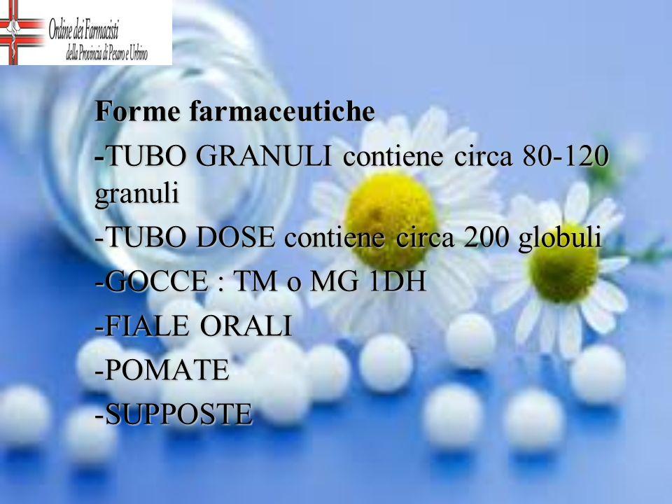 Forme farmaceutiche -TUBO GRANULI contiene circa 80-120 granuli. -TUBO DOSE contiene circa 200 globuli.