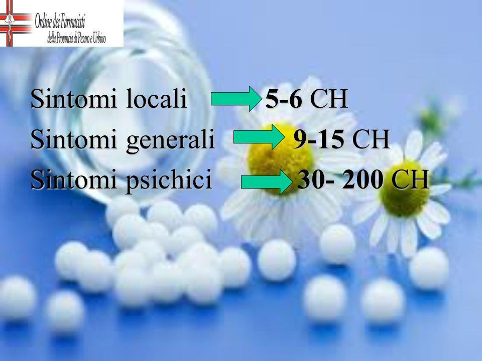 Sintomi locali 5-6 CH Sintomi generali 9-15 CH.
