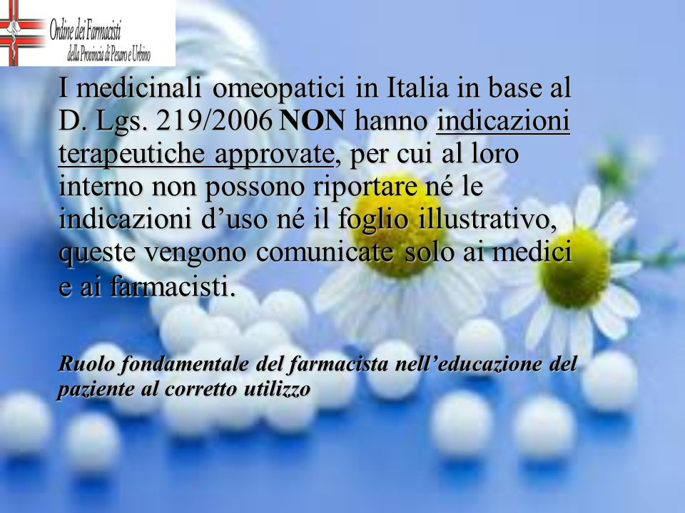 I medicinali omeopatici in Italia in base al D. Lgs