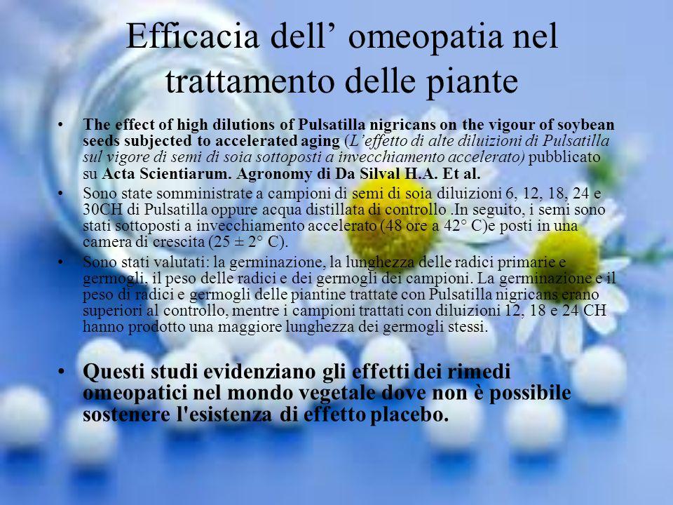 Efficacia dell' omeopatia nel trattamento delle piante