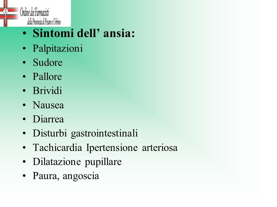 Sintomi dell' ansia: Palpitazioni Sudore Pallore Brividi Nausea