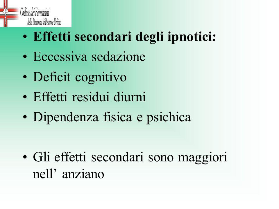 Effetti secondari degli ipnotici: