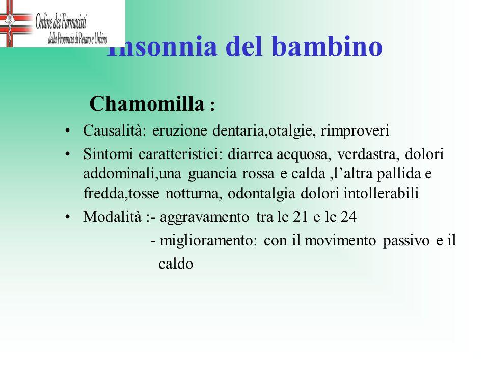 Insonnia del bambino Chamomilla :