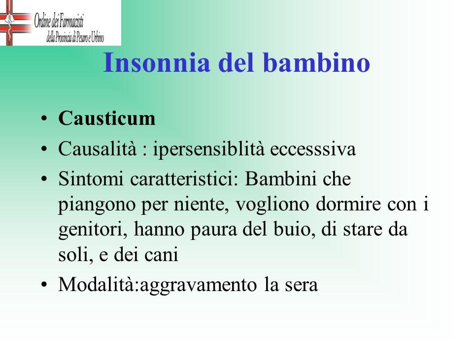 Insonnia del bambino Causticum Causalità : ipersensiblità eccesssiva