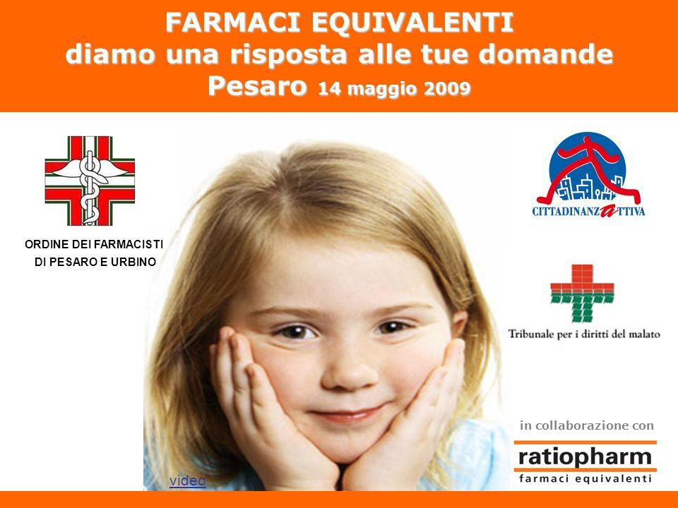 FARMACI EQUIVALENTI diamo una risposta alle tue domande Pesaro 14 maggio 2009