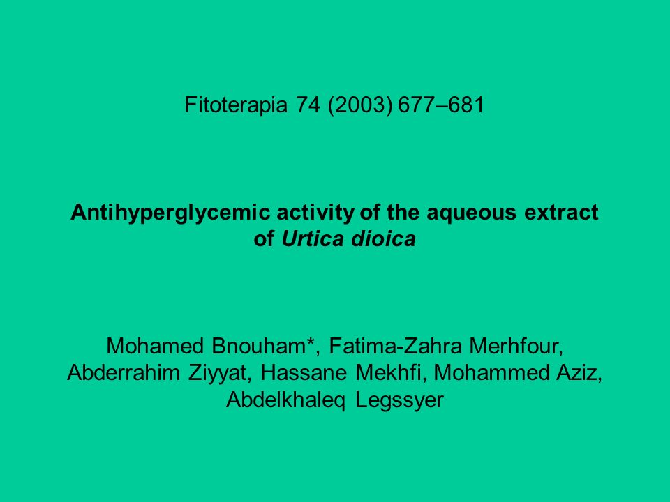 Antihyperglycemic activity of the aqueous extract