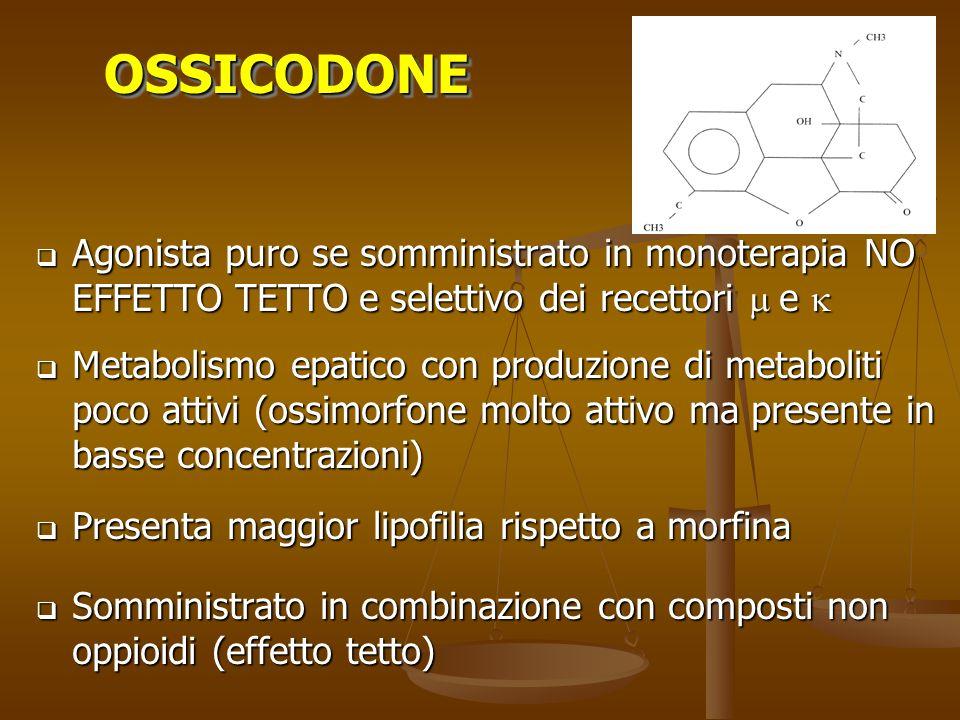 OSSICODONE Agonista puro se somministrato in monoterapia NO EFFETTO TETTO e selettivo dei recettori m e k.