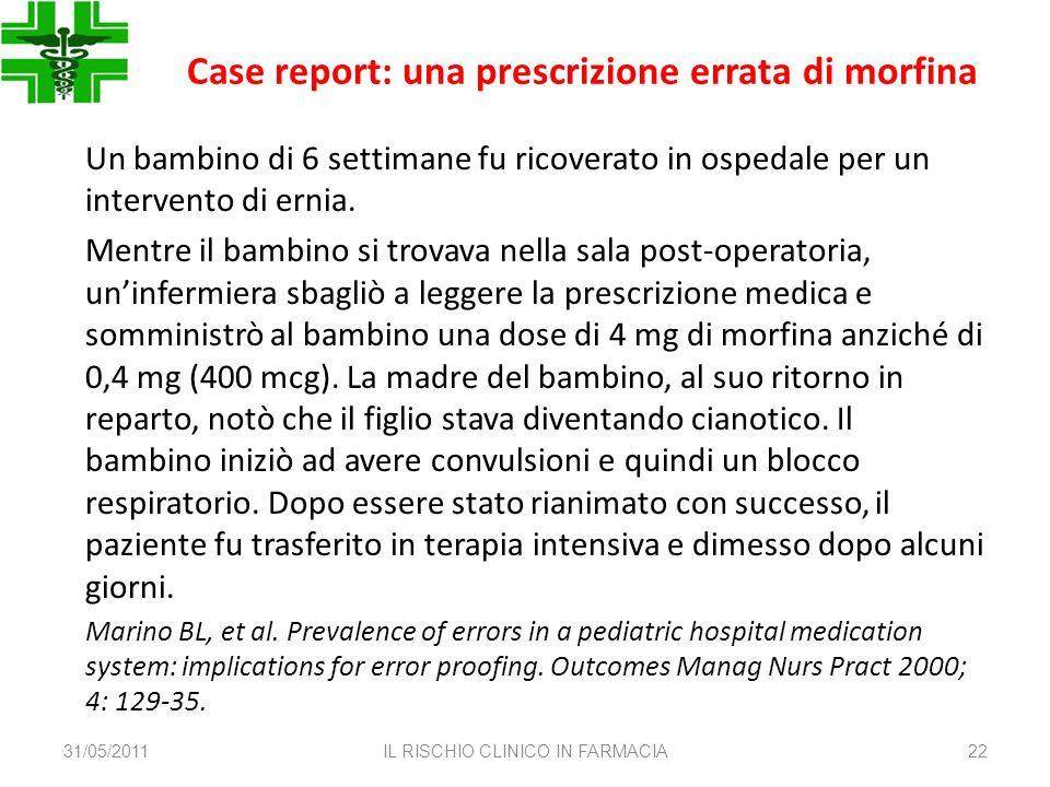 Case report: una prescrizione errata di morfina