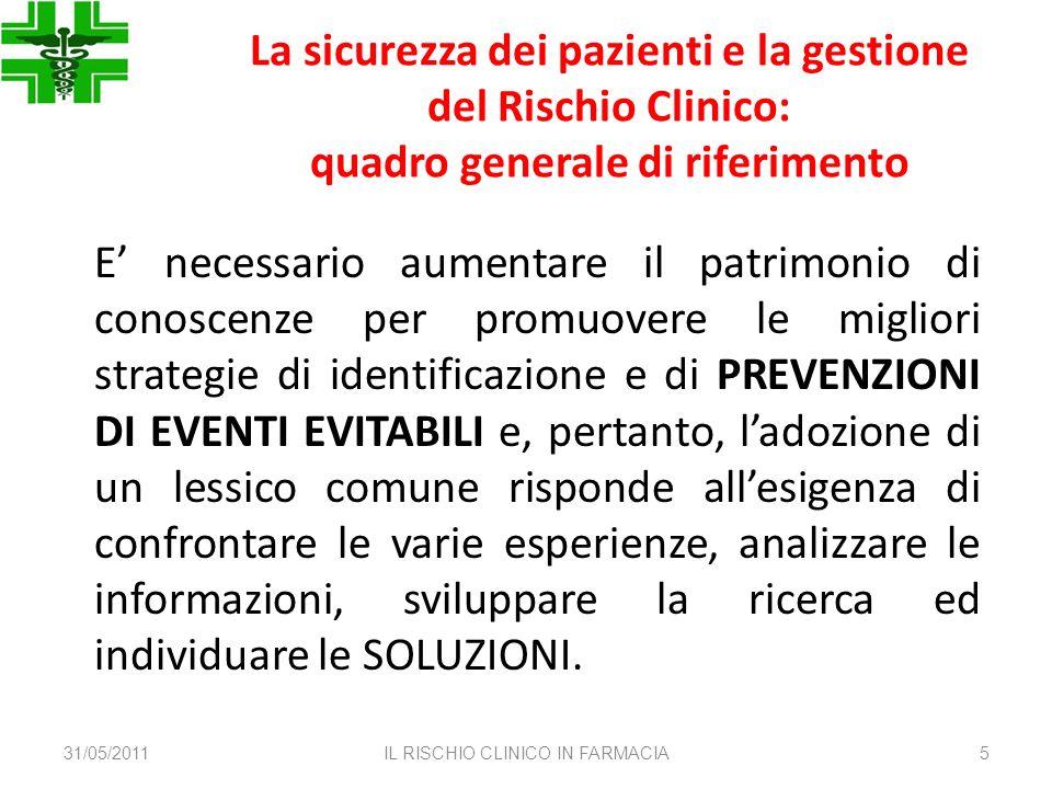 La sicurezza dei pazienti e la gestione del Rischio Clinico: