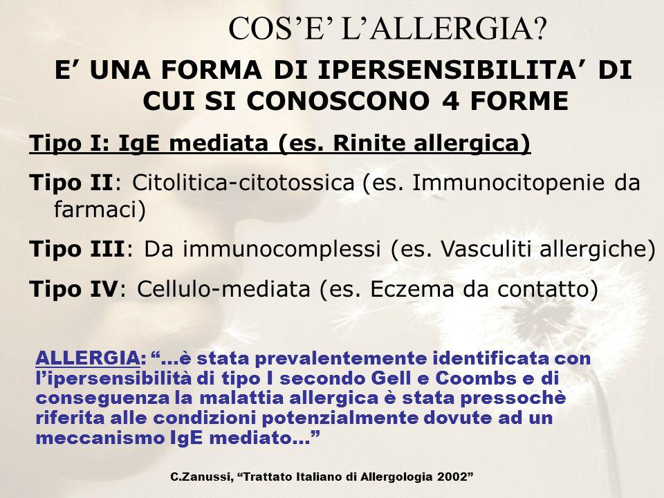 E' UNA FORMA DI IPERSENSIBILITA' DI CUI SI CONOSCONO 4 FORME