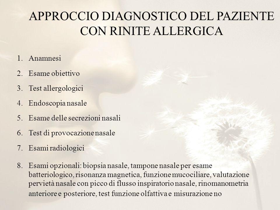 APPROCCIO DIAGNOSTICO DEL PAZIENTE CON RINITE ALLERGICA