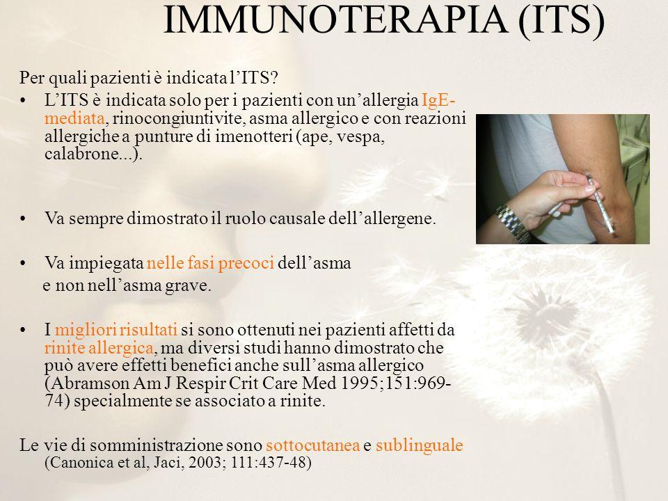 IMMUNOTERAPIA (ITS) Per quali pazienti è indicata l'ITS