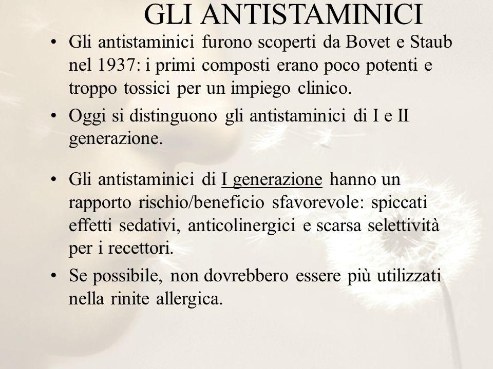 Gli antistaminici furono scoperti da Bovet e Staub nel 1937: i primi composti erano poco potenti e troppo tossici per un impiego clinico.